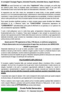 manifesto Pd Macerta Campania 202x300 IL PD NON CI STA E ATTACCA I FIRMATARI DELL'INTERROGAZIONE CONSILIARE