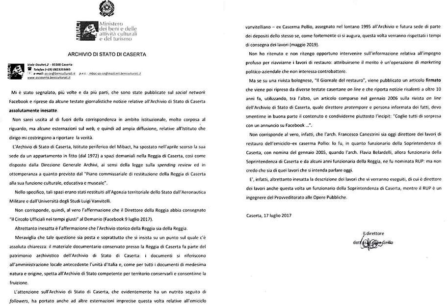 lettera archivio di stato ARCHIVIO DI STATO GATE, MAURO FELICORI OFFENDE PAOLA BROCCOLI