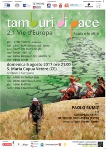 Tamburi di Pace 215x300 ANFITEATRO CAMPANO, TAMBURI DI PACE: SERATA EVENTO CON LORCHESTRA ESYO