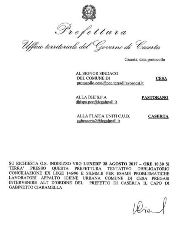"""%name QUESTIONE LAVORATORI DHI   PREFETTO CONVOCA SINDACO GUIDA, M5S CESA: """"FINALMENTE SI FA CHIAREZZA"""""""