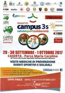 LOCANDINA CAMPUS SALUTE 209x300 CASERTA PARCO MARIA CAROLINA: VISITE MEDICHE DI PREVENZIONE, EVENTI SPORTIVI E SOLIDALI