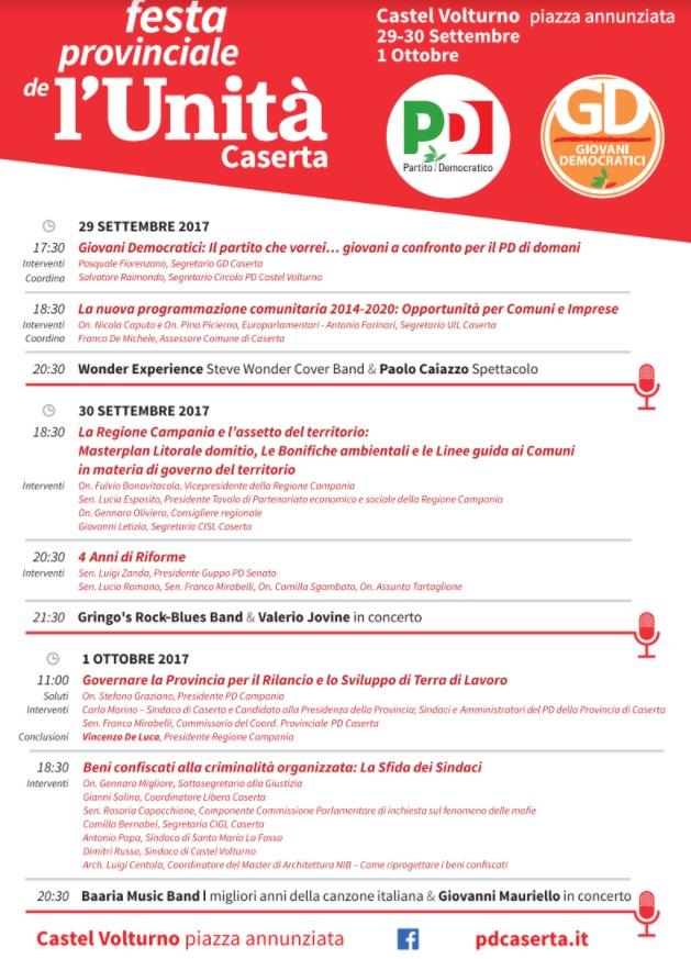 unita FESTA DELLUNITA A CASTEL VOLTURNO DAL 29 SETTEMBRE AL 1 OTTOBRE