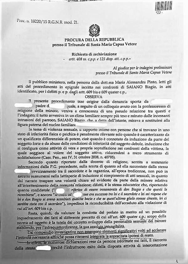 """Immagine 51 DON BIAGIO SAIANO, CADONO LE ACCUSE DI MOLESTIE. LA MINORE CONFESSA """"NON MI HA BACIATO""""  IL GIP ARCHIVIA IL CASO"""