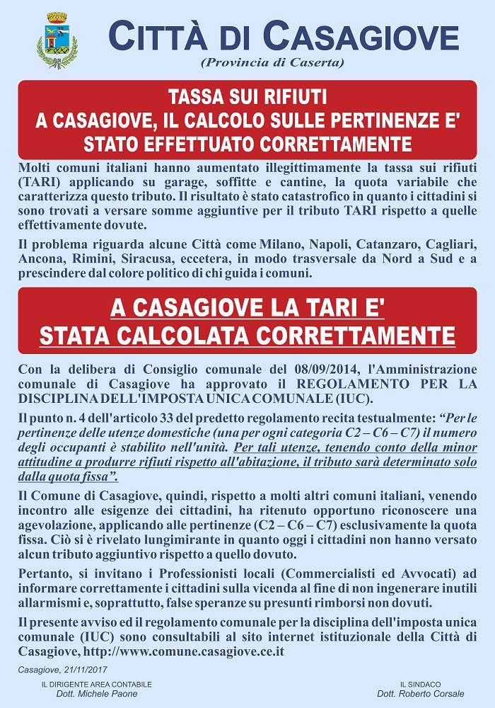 Manifesto sulla TARI TARI, A CASAGIOVE IL TRIBUTO È STATO CALCOLATO CORRETTAMENTE