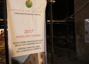 RIQUALIFICAZIONE ESEDRA VANVITELLIANA DELLA REGGIA DI CASERTA DA DESTINARE AD ARCHIVIO DI STATO 09112017 7 300x217 ARCHIVIO DI STATO, GITA TURISTICA ALLA CASERMA POLLIO  E STRENNA NATALIZIA PER IL SINDACO  …UN EVENTO PER POCHI INTIMI