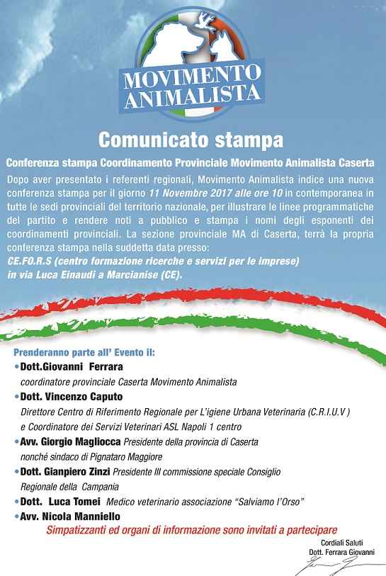 comunicato stamp MOVIMENTO ANIMALISTA: SABATO MATTINA CONFERENZA STAMPA