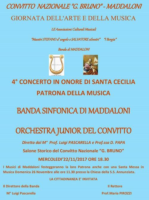 """concerto di S. Cecilia 2017 BANDA SINFONICA DI MADDALONI E IL CONVITTO """"GIORDANO BRUNO"""" CELEBRANO SANTA CECILIA"""