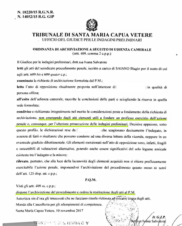"""documento DON BIAGIO SAIANO, CADONO LE ACCUSE DI MOLESTIE. LA MINORE CONFESSA """"NON MI HA BACIATO""""  IL GIP ARCHIVIA IL CASO"""