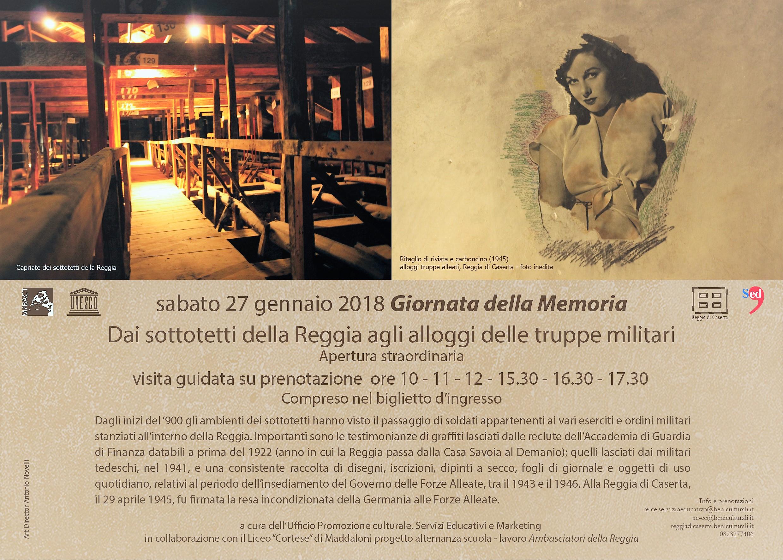Giornata della memoria GIORNO DELLA MEMORIA: LA REGGIA APRE I SOTTOTETTI AI VISITATORI