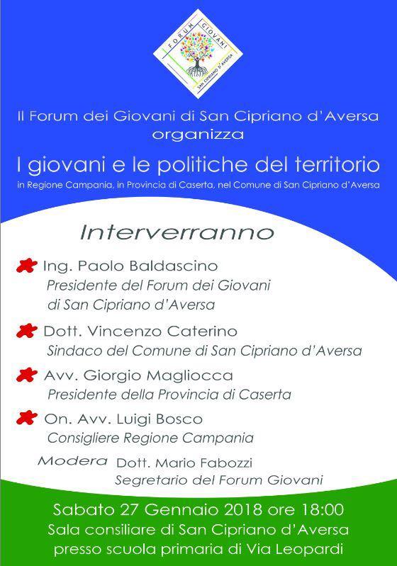 locandina evento FORUM DEI GIOVANI DI SAN CIPRIANO DAVERSA: I GIOVANI E LE POLITICHE DEL TERRITORIO
