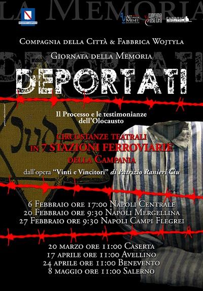 Locandina Deportati 2018 SHOAH: LO SPETTCOLO DEPORTATI ALLA STAZIONE DI NAPOLI