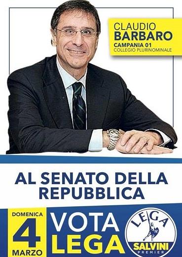 claudio barbaro senato CLAUDIO BARBARO, CAPOLISTA AL SENATO PER LA LEGA, APRE GIOVEDÌ LA CAMPAGNA ELETTORALE A CASERTA
