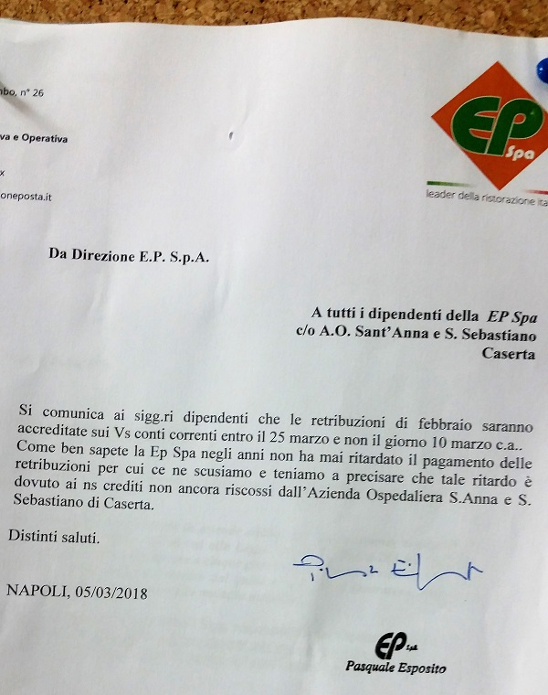 20180315 075443 OSPEDALE, DIREZIONE SENZA VERGOGNA RITARDA LO STIPENDIO AI DIPENDENTI DELLE CUCINE