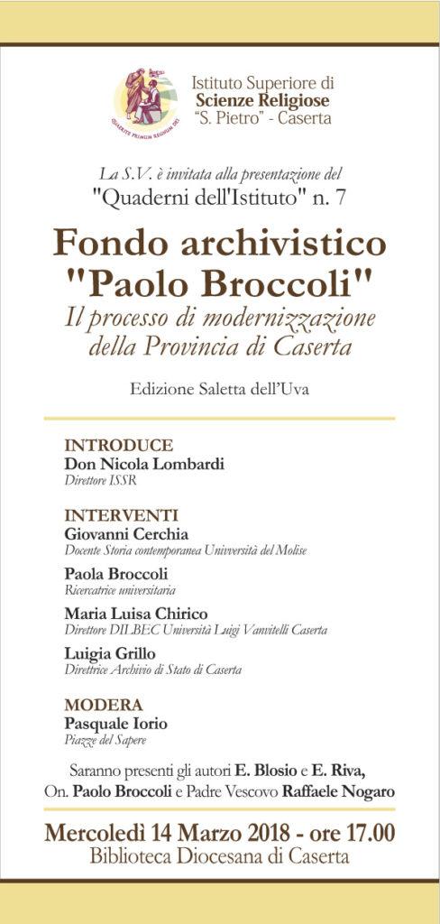 invito broccoli quaderno 488x1024 BIBLIOTECA DIOCESANA: IL FONDO ARCHIVISTICO DI PAOLO BROCCOLI MERCOLEDÌ 14 MARZO