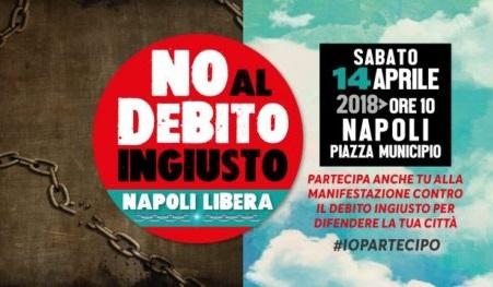no al debito ingiusto 600x263 STRISCIONE A PALAZZO SAN GIACOMO: NO AL DEBITO INGIUSTO, NAPOLI LIBERA