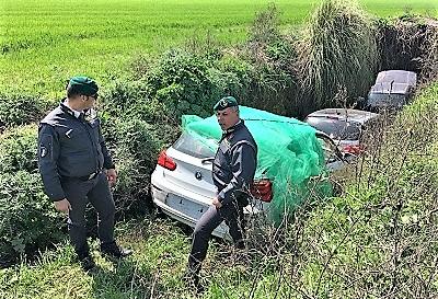 IMG 20180405 WA0005 GRICIGNANO DI AVERSA, GDF CASERTA: RINVENUTE AUTOMOBILI RUBATE IN UN CAMPO AGRICOLO
