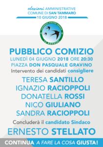 """Grafica Secondo Comizio Le Rondini 210x300 AMMINISTRATIVE SAN TAMMARO   """"LE RONDINI, LUNEDÌ COMIZIO IN PIAZZA DON PASQUALE GRAVINO"""