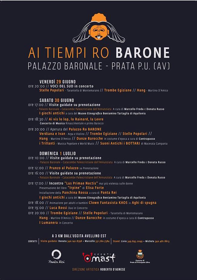 """locandina 13 A PRATA PRINCIPATO ULTRA (AVELLINO) L'EVENTO """"AI TIEMPI RO BARONE"""""""