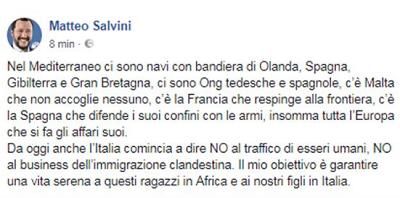 post salvini AQUARIUS, I MIGRANTI ANDRANNO A VALENCIA ANCHE SU NAVI ITALIANE