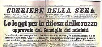 Corriere testata 1938 SINISTRA ITALIANA RICORDA: 5 SETTEMBRE DEL 38, LE LEGGI RAZZIALI