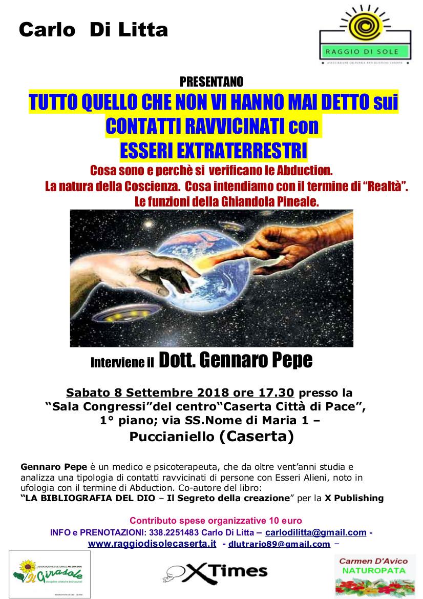 Locandina Conferenza di Gennaro Pepe A CASERTA LINCONTRO CON GLI EXTRATERRESTRI: TUTTO QUELLO CHE NON VI HANNO MAI DETTO