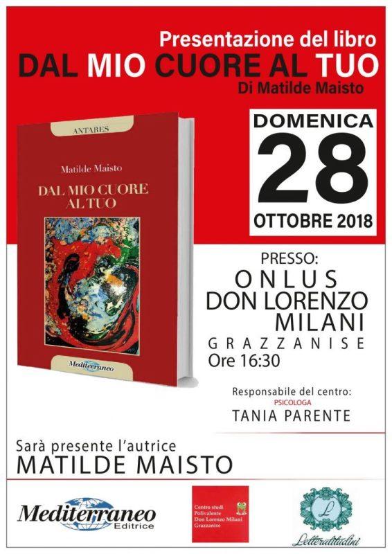 """1 5 GRAZZANISE, """"DAL MIO CUORE AL TUO"""": IL LIBRO DI MATILDE MAISTO ALLA ONLUS DON LORENZO MILANI"""