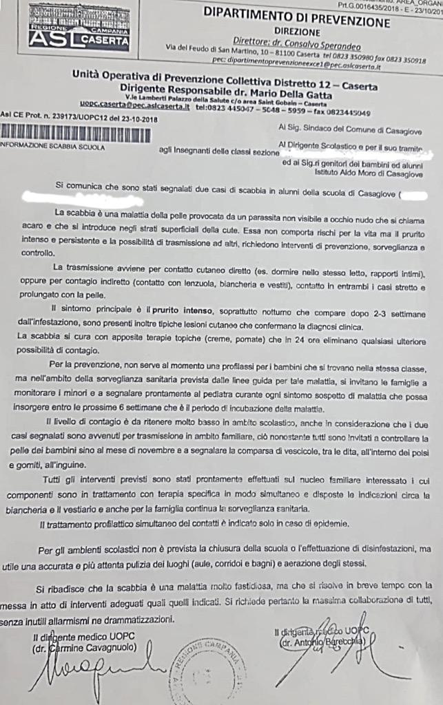 """%name SCUOLA, SORVEGLIANZA SANITARIA PER I MINORI COLPITI DA SCABBIA. CORSALE """"IN PROGRAMMA SANIFICAZIONE DI TUTTE LE SCUOLE"""""""