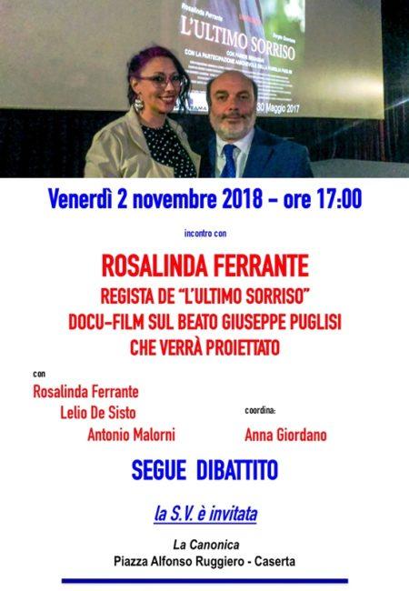 Locandina Rosalinda Ferrante 2nov2018 e1540818369226 LA REGISTA FERRANTE PRESENTA IL DOCU FILM LULTIMO SORRISO