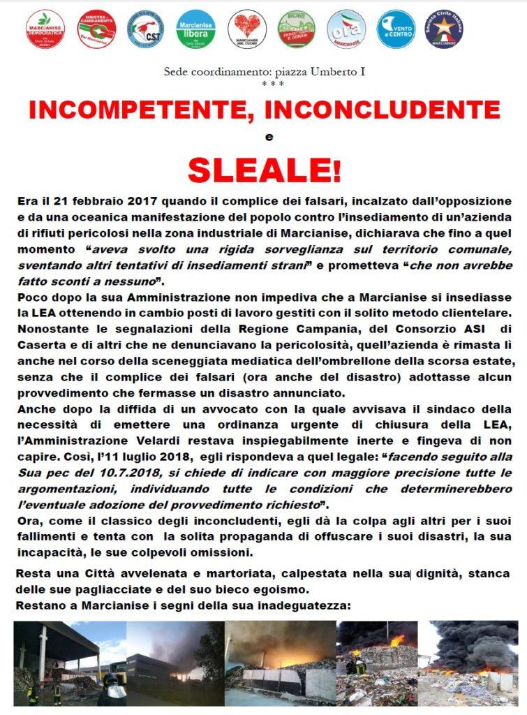 manifesto lea marcianise 755x1024 INCENDIO LEA: LOPPOSIZIONE INCHIODA VELARDI ALLE SUE RESPONSABILITÀ