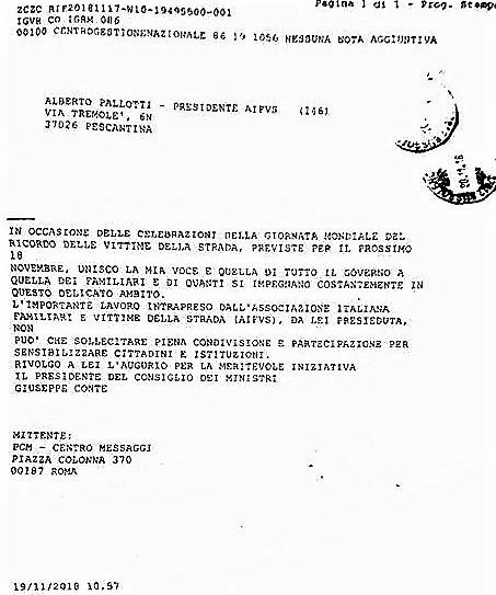 %name ASSOCIAZIONE ITALIANA FAMILIARI E VITTIME DELLA STRADA ONLUS: PREMIER CONTE SI COMPLIMENTA CON PRESIDENTE PALLOTTI