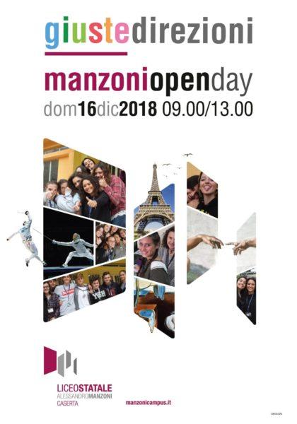 open day locandina AL LICEO MANZONI DI CASERTA TUTTO PRONTO PER L'OPEN DAY DI DOMENICA