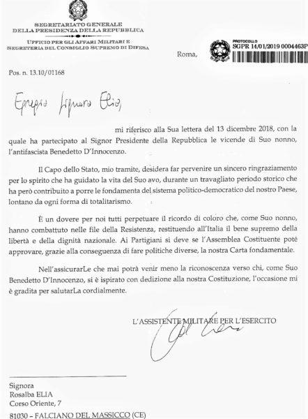 ANC ANC 20190124 185231 001 BENEDETTO DINNOCENZO EROE DELLA RESISTENZA: IL PRESIDENTE MATTARELLA SCRIVE AI DISCENDENTI