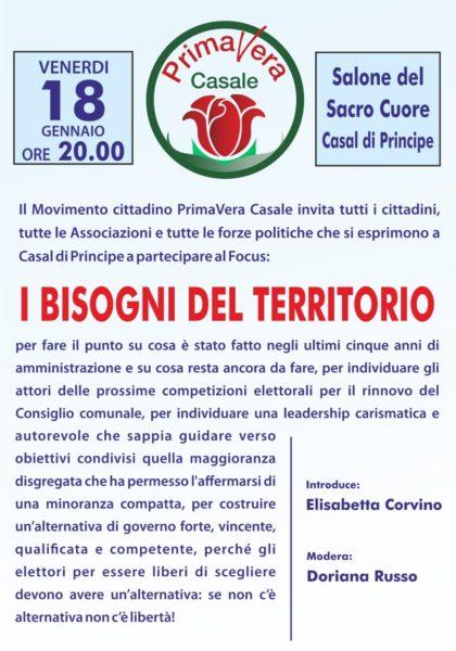 """IMG 20190116 WA0000 CASAL DI PRINCIPE, COMUNALI 2019: VENERDÌ """"PRIMAVERA CASALE"""" INCONTRA I CITTADINI"""
