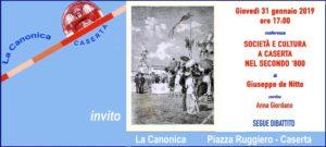 Invito2 DE NITTO 31gen2019 300x135 SOCIETA E CULTURA A CASERTA NELL800, CONFERENZA DEL DOTT. DE NITTO