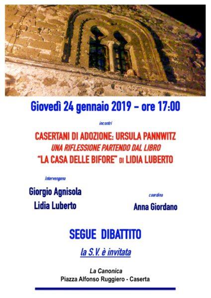 Locandina AGNISOLA 24gen2019 001 LA CANONICA: CASERTANI DADOZIONE, URSULA PANNWITZ