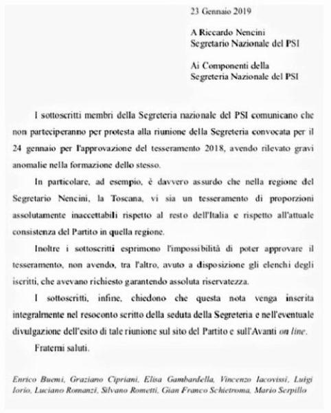 lettera PSI PSI: NUOVO CONGRESSO E VECCHIE POLEMICHE