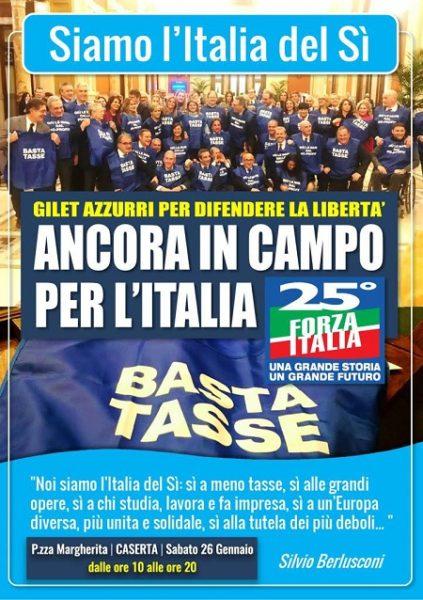 """locandina gazebo forza italia caserta """"GIÙ LE MANI DALL'ITALIA CHE LAVORA E CHE PRODUCE"""": LA PROTESTA DI FI"""