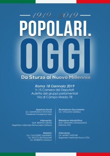 locandina CENTO ANNI FA LAPPELLO DI DON STURZO: A ROMA LA CELEBRAZIONE DELLA DC