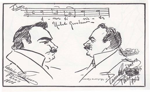 """Caricatura disegnata da Caruso che ritrae se stesso in compagnia di Umberto Giordano ASSOCIAZIONECULTURALE""""ENRICOCARUSO"""": A CASAGIOVE LE PREMIAZIONI DI ARTISTI"""