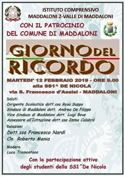 IMG 20190211 WA0006 GIORNATA DEL RICORDO DOMANI  ALLISTITUTO MADDALONI 2 VALLE DI MADDALONI