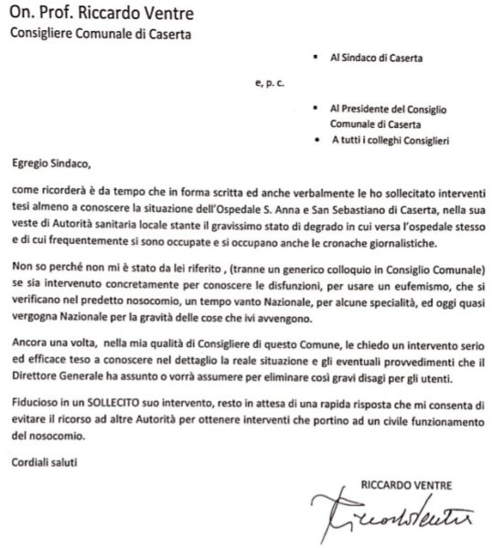 LETTERA VENTRE DEGRADO OSPEDALE DI CASERTA: VENTRE SOLLECITA NUOVAMENTE IL SINDACO