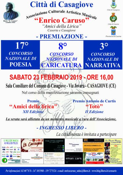 """enrico caruso 2019 ASSOCIAZIONECULTURALE""""ENRICOCARUSO"""": A CASAGIOVE LE PREMIAZIONI DI ARTISTI"""