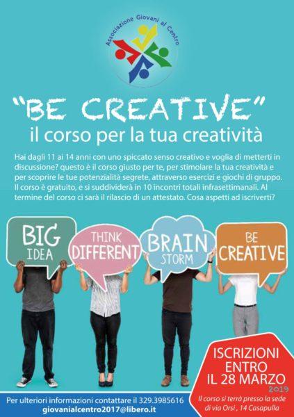 %name BE CREATIVE: AL VIA IL CORSO DI CREATIVITÀ DI GIOVANI AL CENTRO