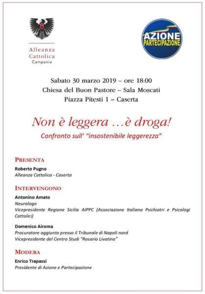 Convegno 30.03.2019 NON E LEGGERA...E DROGA!: SABATO CONVEGNO AL BUON PASTORE