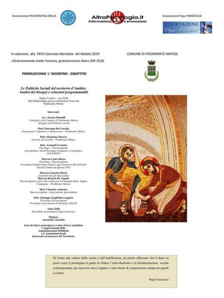 """Giornata Mondiale del Malato Pubblicazione 01 PIEDIMONTE MATESE, CONVEGNO LE POLITICHE SOCIALI DEL TERRITORIO D'AMBITO"""""""