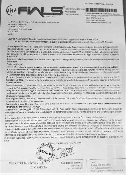 %name SAN ROCCO, LA FIALS RICHIAMA IL DIRETTORE SANITARIO