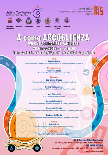 """locandina convegno affido 2019 """"A COME ACCOGLIENZA"""", SI CONCLUDE IL PROGETTO PER PROMUOVERE L'AFFIDO FAMILIARE"""