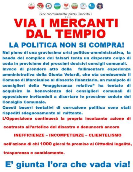 marcianise manif LOPPOSIZIONE ACCUSA IL SINDACO VELARDI IN UN MANIFESTO