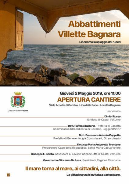 Abbattimenti Villette Bagnara 2 Maggio 2019 CASTELVOLTURNO, AL VIA GLI ABBATTIMENTI IN LOCALITÀ BAGNARA