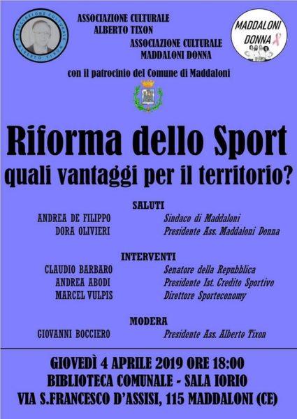 Image 1 RIFORMA DELLO SPORT: CONVEGNO A MADDALONI
